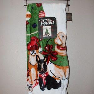 Plush Christmas Furry & Bright Dog Throw NWT
